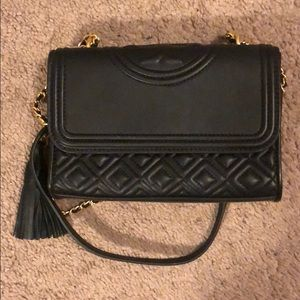 Tory Burch Fleming Leather Shoulder Bag Black